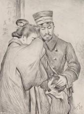 家族に別れを告げる日本軍兵士